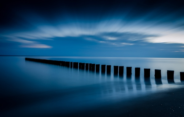 Picture the sky, clouds, blue, shore, calm, Sea, support, calm, before the dawn
