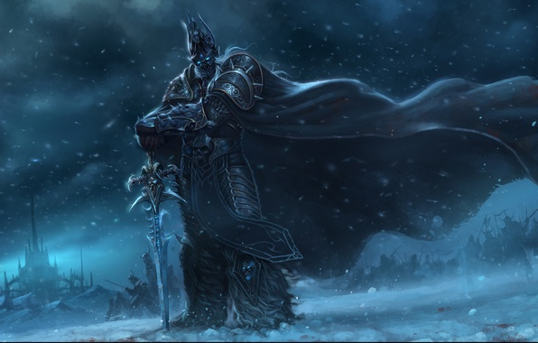 Picture snow, castle, the wind, sword, army, warrior, art, World of Warcraft, cloak, arthas, Chao Yuan …