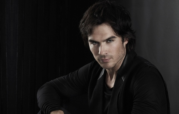 Picture look, face, background, dark, actor, the series, ian somerhalder, the vampire diaries, Ian somerhalder