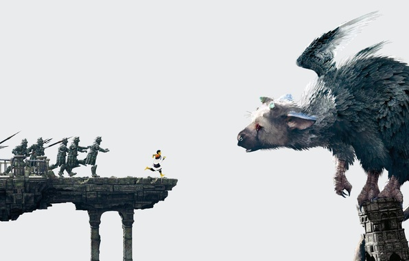 Picture wings, boy, feathers, running, soldiers, claws, horns, beast, Sony, spears, PS4, The Last Guardian, genDESIGN, …