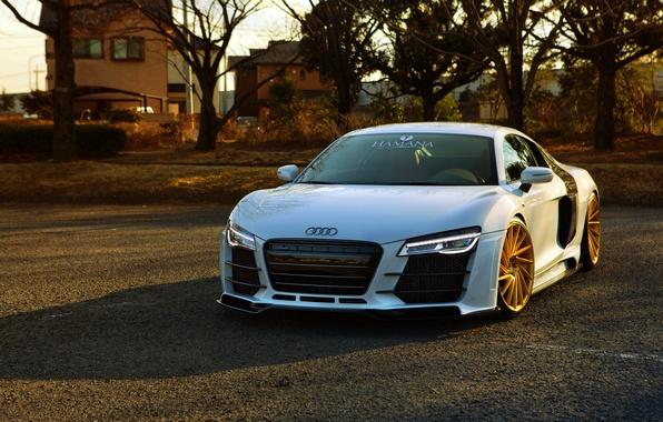 Picture Audi, white, front, vossen wheels