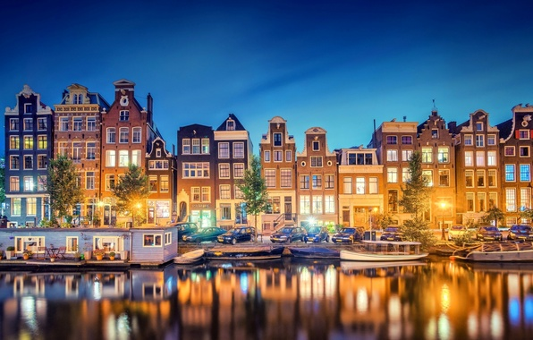 Picture light, the city, lights, reflection, river, building, home, boats, the evening, Amsterdam, channel, Netherlands, Amsterdam, …