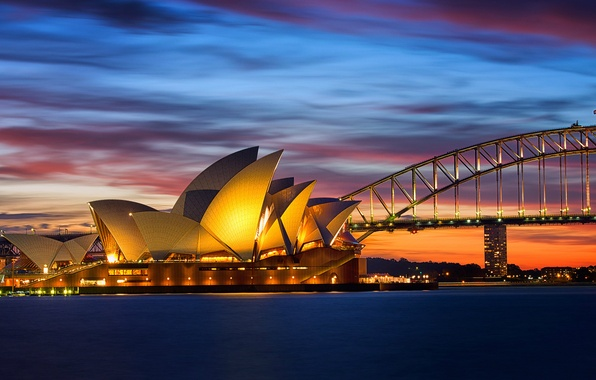 Picture sea, the sky, clouds, sunset, orange, bridge, lights, the evening, lighting, Australia, Bay, Sydney, Opera ...