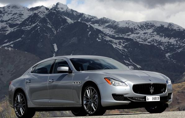 Picture machine, the sky, mountains, Maserati, Quattroporte S, the front