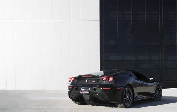 Picture black, the building, Windows, ferrari, Ferrari, black, back, white wall, f 430 Scuderia, f430 scuderia