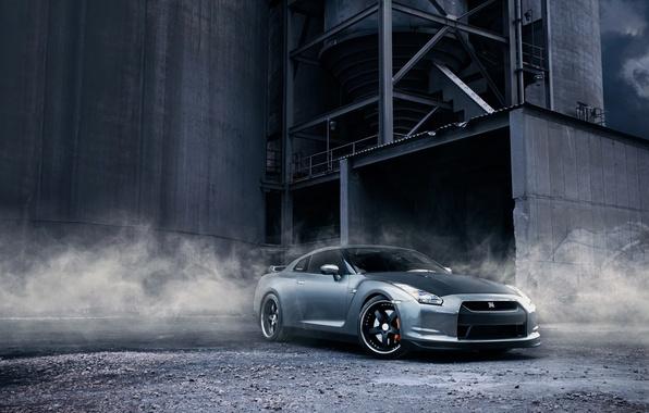 Picture plant, smoke, dust, Nissan, gravel, R35 GTR
