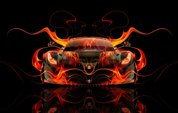 Wallpaper Auto Black Fire Machine Orange Ferrari Style