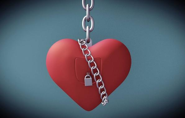 Picture castle, heart, chain, Valentine's day