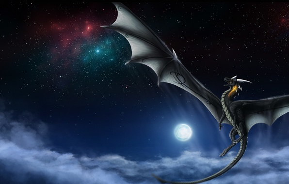 Picture the sky, stars, clouds, flight, night, fiction, the moon, dragon, wings, tail