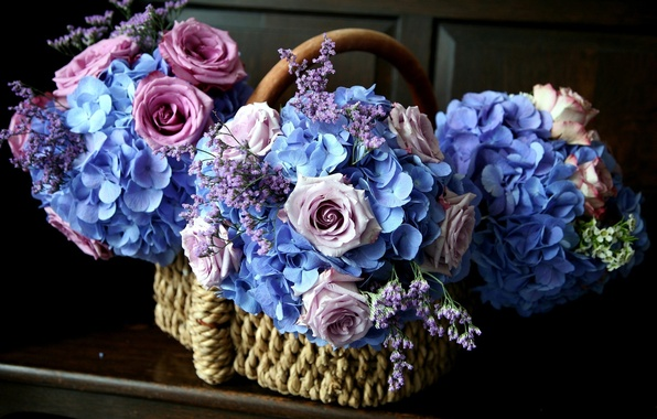 Picture flowers, pink, blue, roses, basket, hydrangea