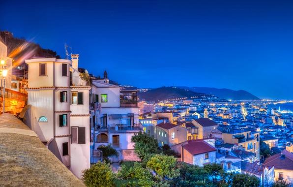 Picture sea, coast, building, Italy, panorama, night city, Italy, Campania, Amalfi Coast, Salerno, Salerno, Gulf of …