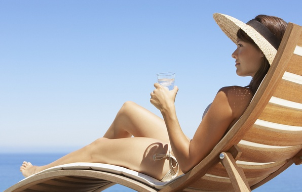 Photo wallpaper hat, ice, chaise, glass, beach, swimsuit, girl, the sky
