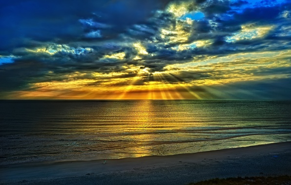 Photo wallpaper sea, beach, the sky, clouds, landscape, blue, nature, sunrise, in the summer, rays
