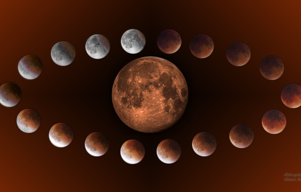 Picture red, moon, eclipse, natural satellite