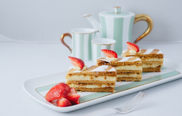 Picture berries, food, strawberry, Cup, cake, cake, cake, cream, dessert, food, sweet, dessert, berries, strawberries, millefeuille