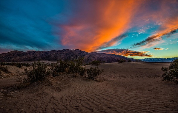 Picture the sky, clouds, sunset, mountains, desert