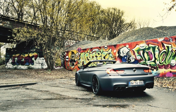 Picture Auto, Black, The fence, BMW, Machine, Convertible, BMW, Graffiti, Matt, BBM Motorsport