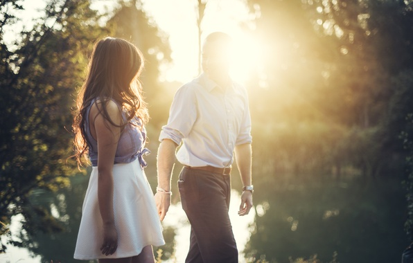 Picture girl, the sun, guy, lovers