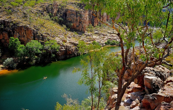 Picture trees, river, stones, rocks, boat, Australia, National Park Nitmiluk