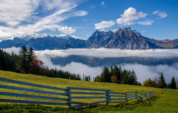 Picture clouds, mountains, the fence, Switzerland, Alps, meadow, Switzerland, Alps, Uri-Rotstock, Uri Alps, Brunnistock