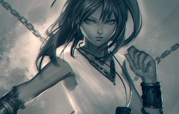 Picture girl, anime, art, chain, magi the labyrinth of magic, morgiana, arieaesu
