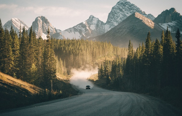 Picture road, machine, forest, mountains
