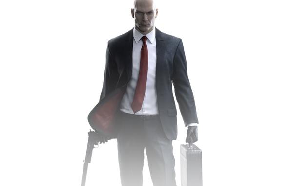 Picture look, gun, weapons, bald, costume, tie, Hitman, jacket, killer, Square Enix, muffler, case, Silver baller, …