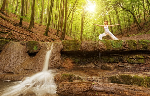 Picture forest, girl, the sun, trees, nature, pose, gymnastics, waterfall, morning, Mike, brown hair, in white, ...