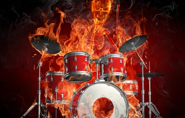 Picture fire, skeleton, drums, Flames