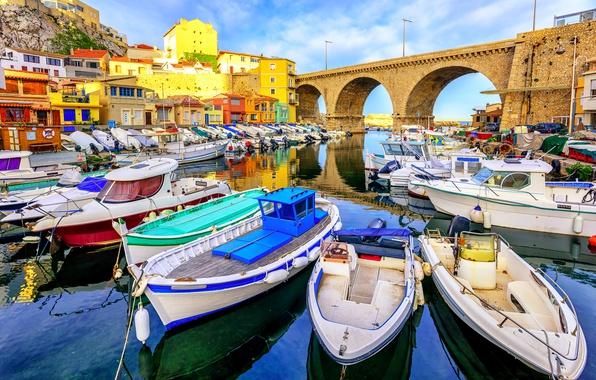 Picture sea, bridge, coast, France, home, boats, boats, Sunny, Marseille, Marseille