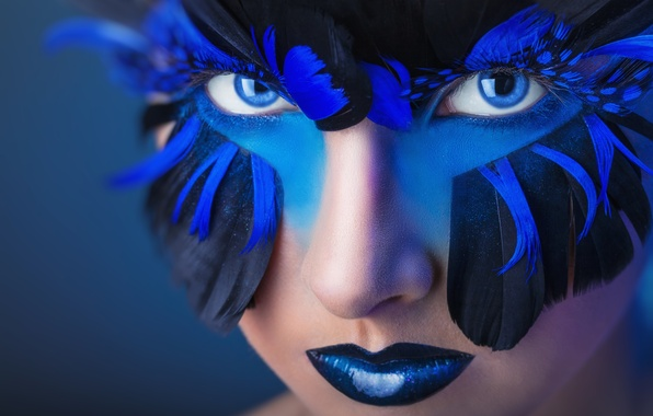 Picture look, girl, style, feathers, makeup, blue eyes