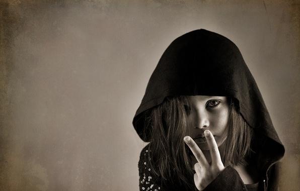 Picture portrait, hood, girl, gesture
