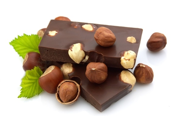 Picture chocolate, nuts, mint, hazelnuts