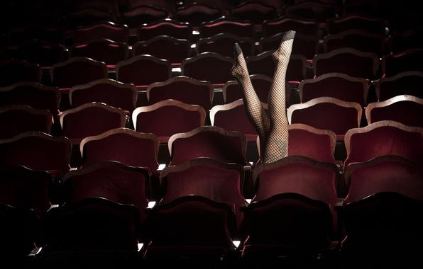 Picture CHAIR, FEET, STOCKINGS, The RANKS, CHAIRS, THEATRE, BACKLESS, HALL