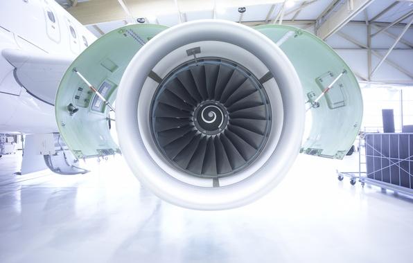 Picture the plane, hangar, case, blades, Turbine