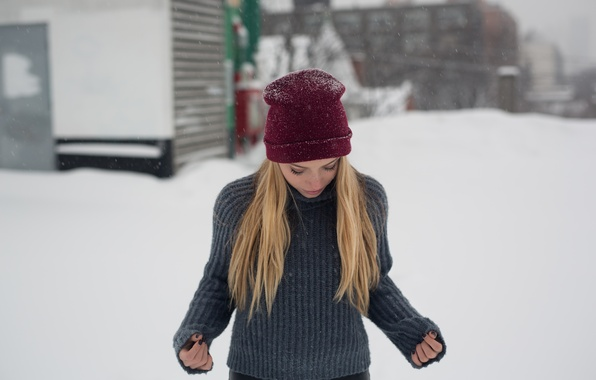 Picture winter, hat, blonde, sweater