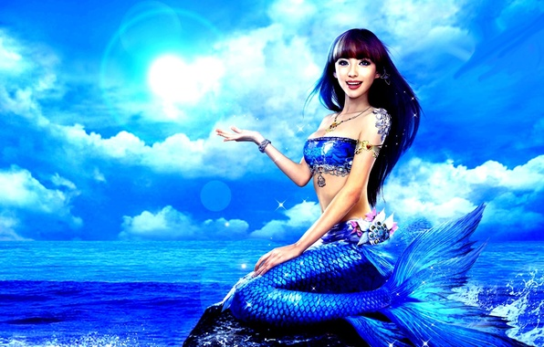 Picture sea, girl, blue, the ocean, mermaid, tail, Asian