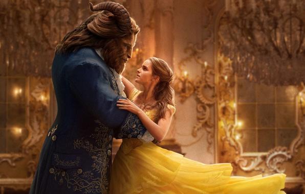 Picture cinema, girl, windows, golden, love, fantasy, Disney, Emma Watson, gold, magic, horns, monster, dress, woman, …
