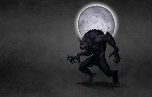 Picture the moon, smoke, wolf, werewolf, red eyes, wolf, dark background, werewolf