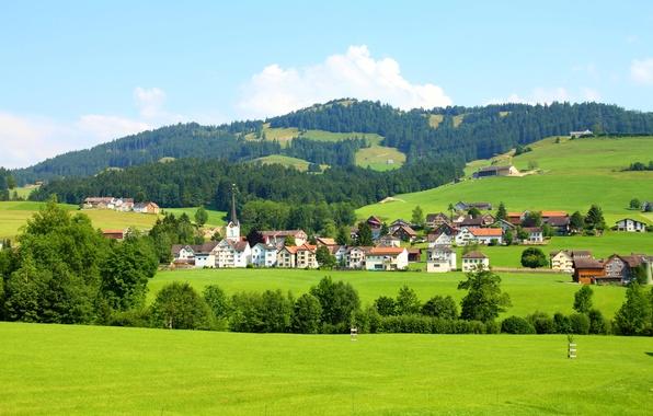 Picture hills, field, home, Switzerland, forest, Sankt Gallen