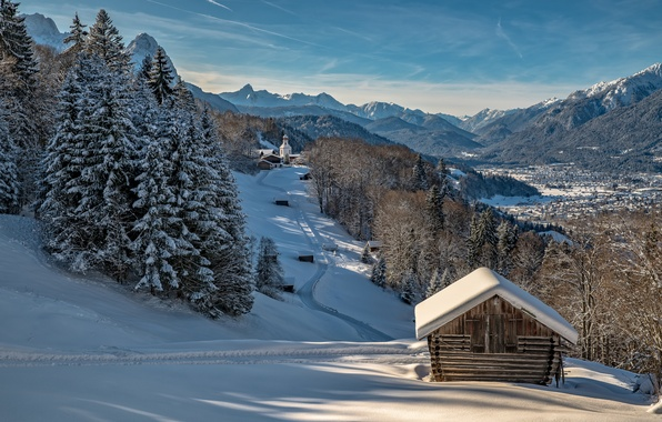 Picture winter, forest, the sky, the sun, snow, trees, mountains, home, Germany, valley, slope, Bayern, Church