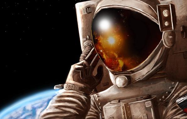 Picture glass, space, stars, reflection, figure, planet, the suit, art, helmet, astronaut