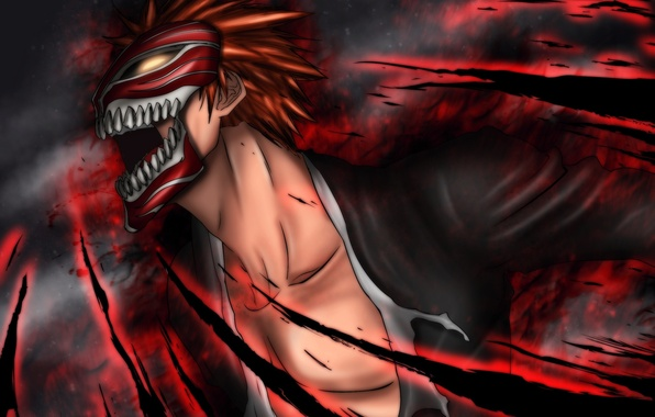 Photo Wallpaper Fire Magic Mask Guy Bleach Kurosaki Ichigo