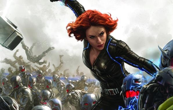 Picture Scarlett Johansson, battlefield, girl, Fantasy, red hair, woman, war, Marvel, redhead, battle, robots, film, Black …