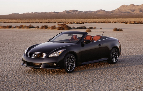 Picture sunset, mountains, desert, coupe, convertible, infiniti, G37
