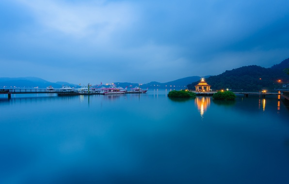 Picture the sky, clouds, mountains, lights, lake, ship, the evening, pier
