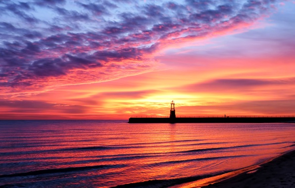 Picture sand, sea, beach, the sky, water, landscape, sunset, reflection, shore, Shine, lighthouse, beauty