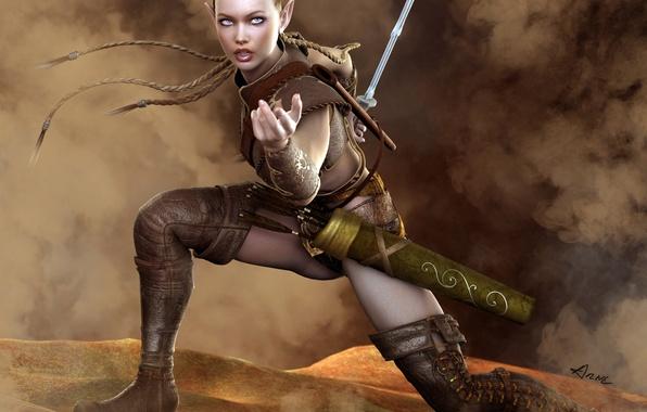 Picture sword, boots, braids, elf, arrows, warrior, quiver, Amazon
