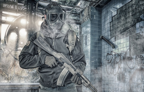 Picture face, weapons, background, gas mask, male, assault rifle