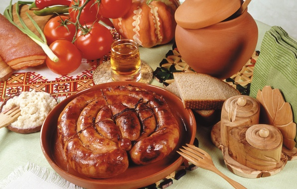 Picture sausage, bread, pumpkin, pepper, vegetables, tomatoes, bread, pot, pumpkin, porridge, sausages, pepper, vegetables, tomato, fried, …